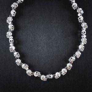 "Silver Skull & Hematite Beaded Necklace Chain 20"""